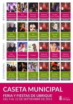 Cartel actuaciones Caseta Municipal 2015 Ubrique