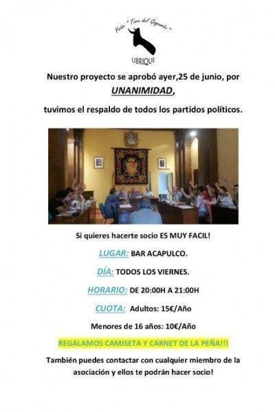 Cartel editado por la Peña tras la aprobación plenaria
