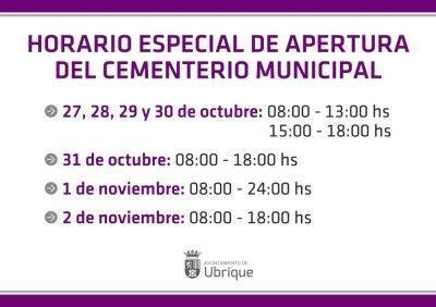 Horario especial Cementerio Municipal (2014)