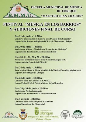 Festival Música en los barrios y Audiciones final de curso